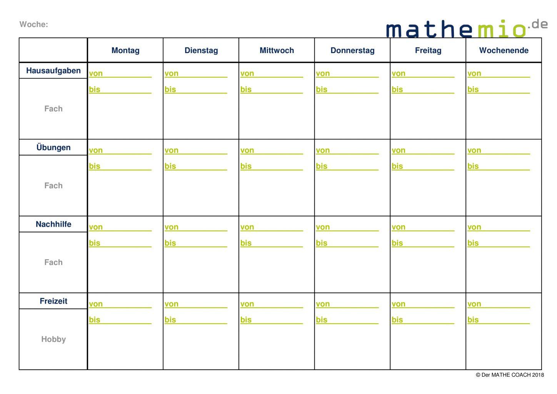 Analysebogen Lernen / Zeitmanagement